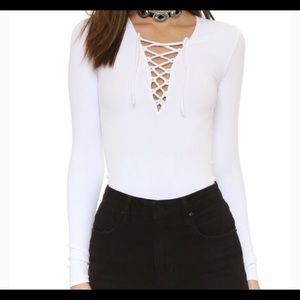 Free people white ribbed lace up long sleeve